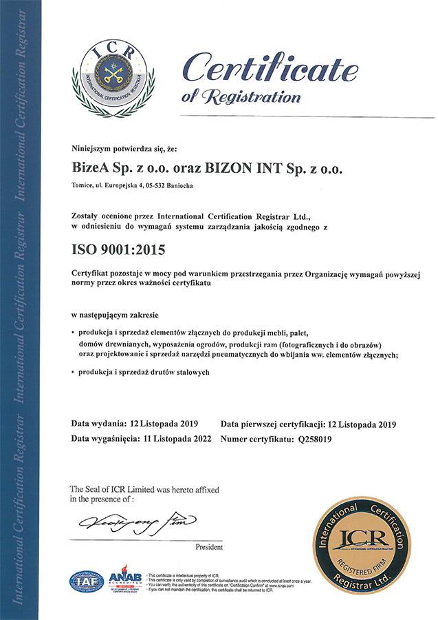 Сертификат качества PN-EN ISO 9001: 2000